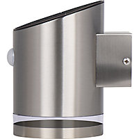 Luceco Non-adjustable Brushed Silver effect Solar-powered Integrated LED PIR Motion sensor Outdoor Wall light