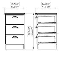 Lugano Matt grey 3 Drawer Bedside chest (H)700mm (W)400mm (D)410mm