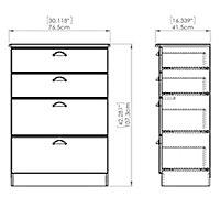 Lugano Matt grey 4 Drawer Chest (H)1080mm (W)770mm (D)410mm