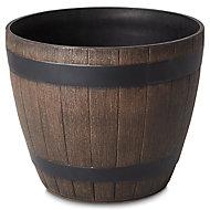 Lule Wood effect Plastic Plant pot (Dia)38cm