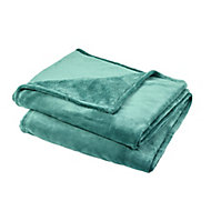 Lulu Green Plain Fleece Throw