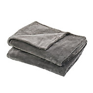 Lulu Grey Plain Fleece Throw