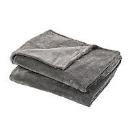 Lulu Grey Plain Fleece Throw