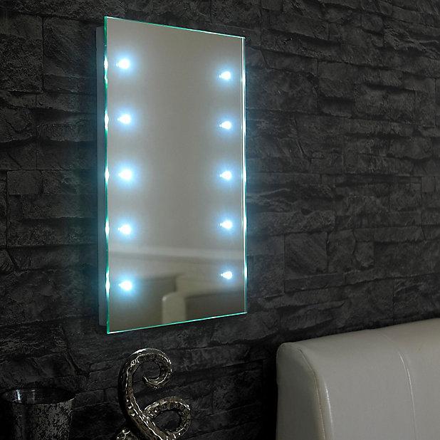 Lumino Lesto Illuminated Bathroom Rectangular Battery Powered Mirror W 300mm H 450mm Diy At B Q