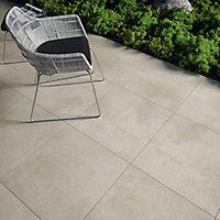 Luna Beige Matt Concrete effect Porcelain Outdoor Floor Tile, Pack of 2, (L)600mm (W)600mm