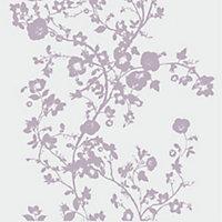 Lutece Floral Purple Foliage Mica Wallpaper