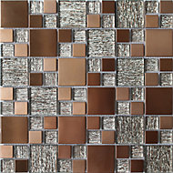 Luxe Brushed Copper effect Glass & metal Mosaic tile, (L)300mm (W)300mm