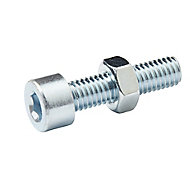 M5 Cylindrical Carbon steel Set screw & nut (L)20mm, Pack of 20