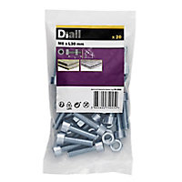 M8 Cylindrical Carbon steel Set screw & nut (L)30mm, Pack of 20