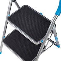 Mac Allister 2 tread Plastic & steel Foldable Step stool (H)0.85m