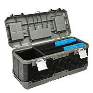 "Mac Allister 20"" Plastic & steel 12 compartment Toolbox"