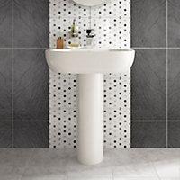 Magma Black Matt Stone effect Porcelain Wall & floor tile, Pack of 6, (L)600mm (W)300mm