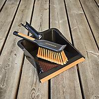 Magnusson Black & orange Dustpan & brush set, (W)317mm