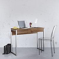 Mali Matt walnut effect 2 Drawer Desk (H)765mm (W)1016mm (D)400mm