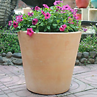 Mali White washed Terracotta White washed Round Plant pot (Dia)53cm