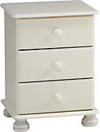 Malmo Stained White Pine 3 Drawer Bedside chest (H)581mm (W)441mm (D)383mm