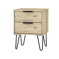 Manhattan Oak effect 2 Drawer Bedside chest (H)570mm (W)450mm (D)395mm