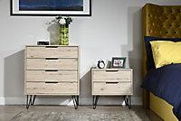 Manhattan Oak effect 2 Drawer Bedside chest (H)570mm (W)450mm (D)395mm