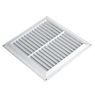 Manrose White Rectangular Applications requiring low extraction rates Fixed louvre vent & Fly screen, (H)152mm (W)229mm