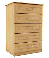 Maple effect 5 Drawer Chest of drawers (H)1130mm (W)600mm (D)500mm