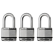 Master Lock Excell Steel Cylinder Open shackle Padlock (W)50mm, Pack of 3