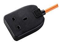 Masterplug 1 socket Black Extension lead, 10m
