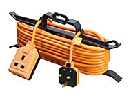 Masterplug 1 socket Orange Extension lead, 15m
