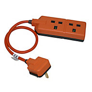 Masterplug 2 socket 13A Orange Extension lead, 0.5m