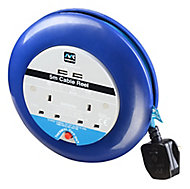 Masterplug 2 socket Cable reel with USBs, 5m