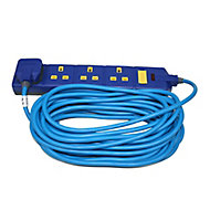 Masterplug 4 socket 13A Blue Extension lead, 10m