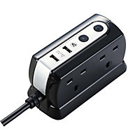 Masterplug 4 socket Black Extension lead, 2m