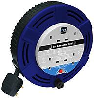 Masterplug 4 socket Cable reel, 8m