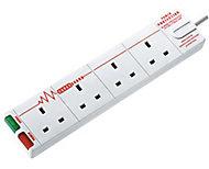 Masterplug 4 socket White Extension lead, 4m