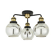 Matt Antique brass & black & smoke 3 Lamp Ceiling light