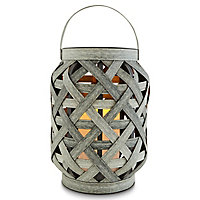 Matt Dark grey Solar-powered LED Lantern