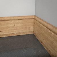 MDF Oak veneer Torus Skirting board (L)2.4m (W)119mm (T)18mm