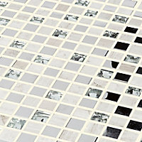 Mecine Grey Glass effect Glass, natural stone & stainless steel Mosaic tile, (L)300mm (W)300mm