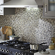 Mecine Grey Glass, natural stone & stainless steel Mosaic tile, (L)300mm (W)300mm