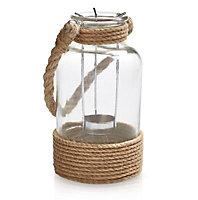 Medium Glass & rope Jar, Natural