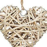 Medium Heart Wicker Ornament, Natural