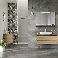 Memphis Anthracite Gloss Marble effect Ceramic Wall Tile, Pack of 6, (L)600mm (W)300mm