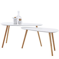 Merak Matt white & natural Non extendable Side table