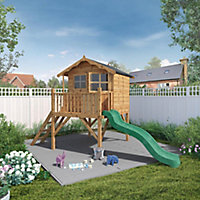 Mercia 12x6 Poppy Apex Shiplap Tower slide playhouse - Assembly service included