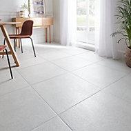 Metal ID Light grey Matt Flat Concrete effect Porcelain Wall & floor Tile, Pack of 3, (L)600mm (W)600mm