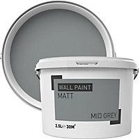 Mid grey Matt Emulsion paint, 2.5L
