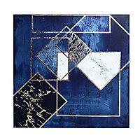 Midnight geometric Navy Canvas art (H)400mm (W)400mm