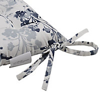 Midnight navy & white Floral Seat pad