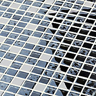 Milaino Black & grey Glass effect Mosaic Glass & stainless steel Mosaic tile, (L)300mm (W)300mm
