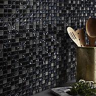 Milaino Black & grey Glass & stainless steel Mosaic tile, (L)300mm (W)300mm