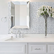 Milan Grey & white Polished Diamante effect Marble 3x3 Mosaic tile, (L)305mm (W)305mm